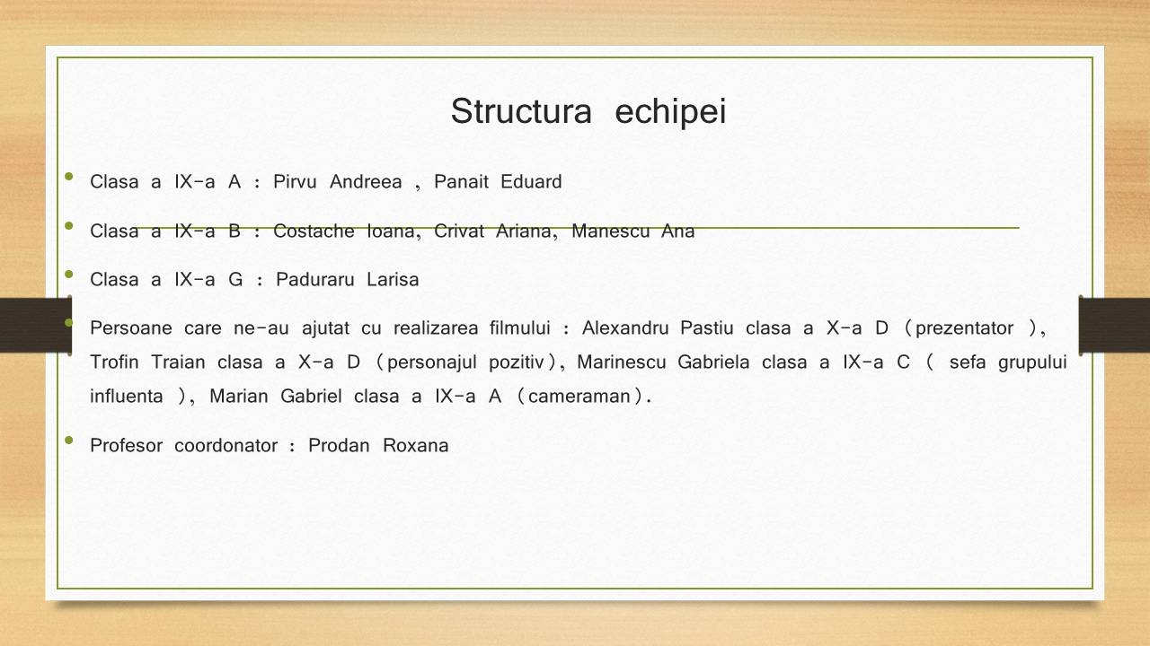 8 ECHIPA 1 – clasele a-IX-a A, B, G – Liceul Teoretic C.A. ROSETTI